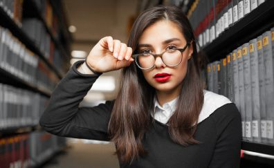 Library, girl model, glasses