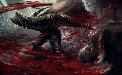 Bloodborne, warrior, video game, 2015, dark