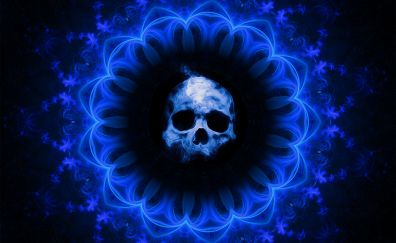 Skull, dark blue gothic, abstract, fantasy