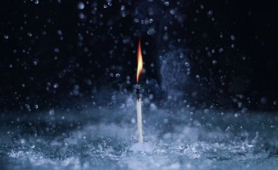 Matches fire, water splashes