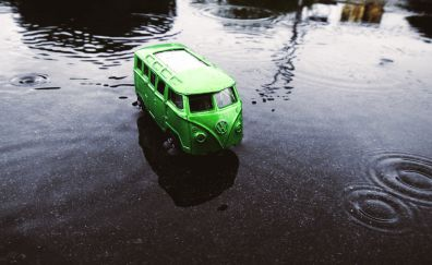 Green van, vehicles, Volkswagen, model, toy, water