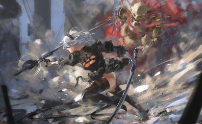 Nier: automata, artwork, fight, 2B