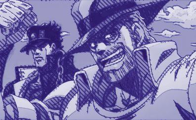 Joseph Joestar, Jotaro Kujo, anime boy, JoJo's Bizarre Adventure