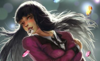 Art, long hair, anime girl, Jabami Yumeko, anime