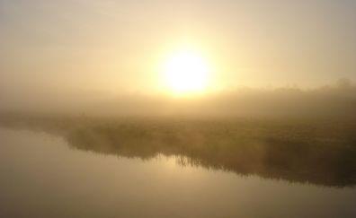 Morning, dusk, fog, lake, reflections