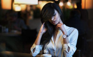 Long hair girl, model, drinking tea, wristwatch