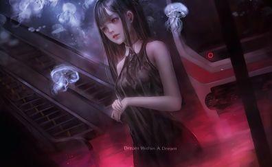 Dreams, anime girl, jellyfish, original