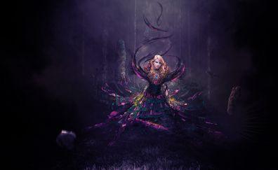 Girl, outdoor, dark, fantasy, 4k