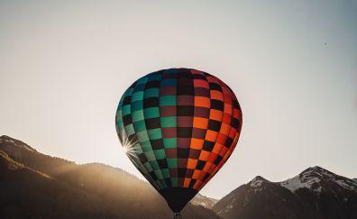 Hot air balloon, flight, mountains