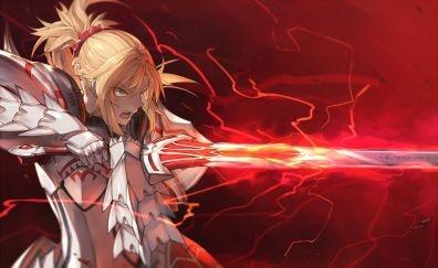Saber of red, fate/apocrypha, angry anime girl