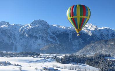 Hot air balloon, landscape, winter, mountains, 4k