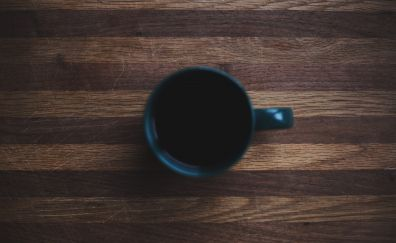 Coffee cup, wooden surface, close up, 5k