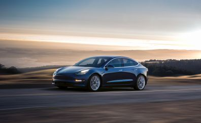 2017 car, Tesla Model 3, motion blur