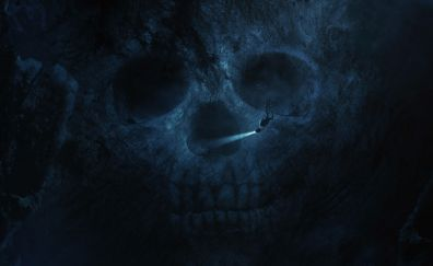 Skull, dark, underwater, dive