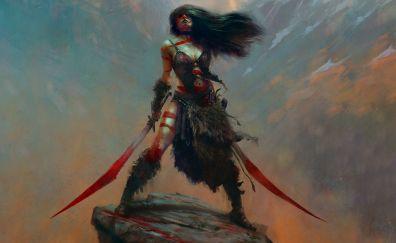 Girl warrior, fantasy, red swords, art