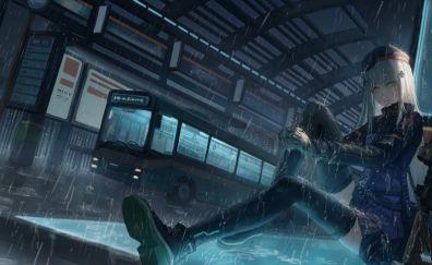 Hk416, girls frontline, anime girl, rain