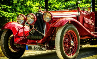 Auto, Alfa Romeo, red classic car