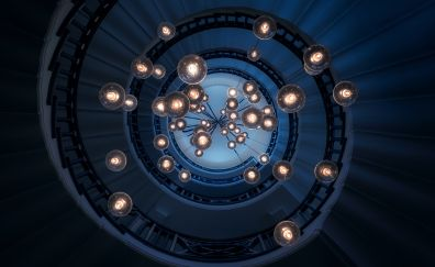 Staircase, lights, ceiling, spiral, architecture, interior, 5k