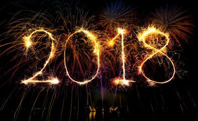 2018, fireworks, celebrations, typography, happy new year, 4k