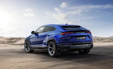 Rear view, sports car, Lamborghini Urus, 4k