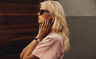 Blonde, model, sunglasses, wrist watch