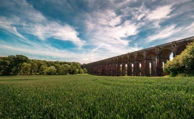Bridge, railroads, clouds, landscape, 5k
