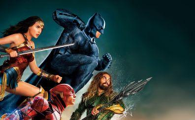 Justice league, batman, wonder woman, aquaman, superheroes, 4k