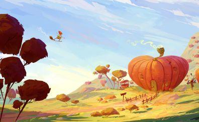 Pumpkin house artwork fantasy
