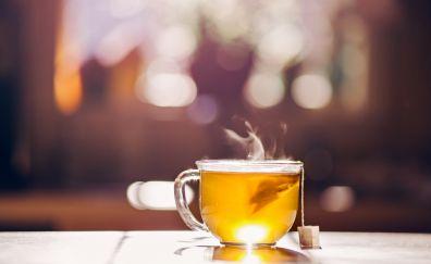Bokeh, cup, tea, close up