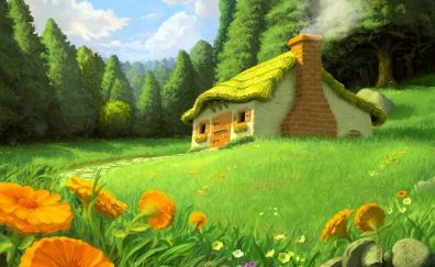 Green house nature painting