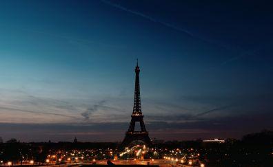 Eiffel Tower, skyline, night, city, Paris
