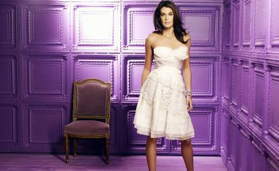 Teri Hatcher in white dress, chair