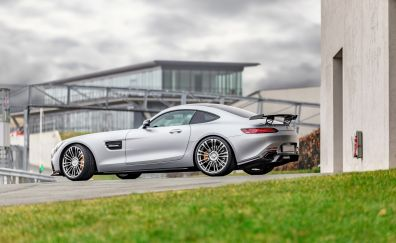 Mercedes-AMG GT, silver car, side view