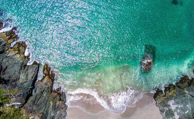 Green sea, beach, Aerial view
