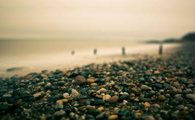 Rocks at beach blurred
