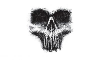 Minimal skull artwork monochrome