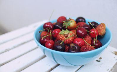 Berries, strawberry, cherry, black cherry