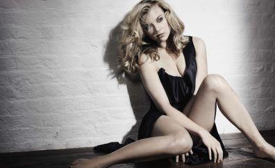 Natalie Dormer, hot, blonde, celebrity, sitting