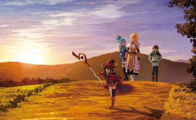 Megumin, aqua and her friends, anime girl