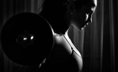 weightlifting, fitness, girl, monochrome