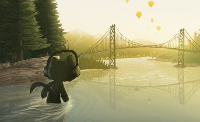 Monstercat, music, bridge, river, digital art
