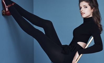 Anna Kendrick, black clothing, legs up, celebrity
