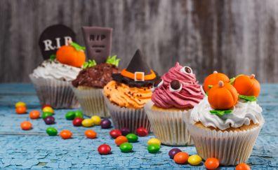 Halloween, cake, cupcakes, dessert, 4k