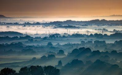 Horizon, aerial view, nature, sunrise