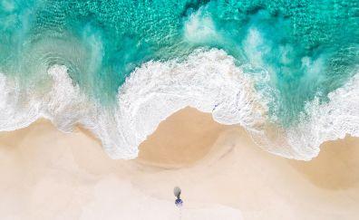 Beach, soft sea waves, aerial view