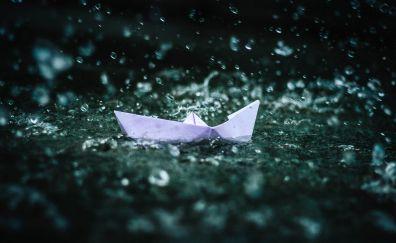 Paper boat, play, rain, water splashes