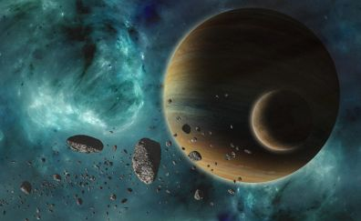 Space, planet, clouds, art