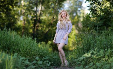 Outdoor, girl model, plants, smile