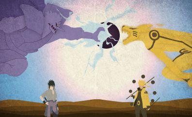 Sasuke Uchiha, Boruto Uzumaki, Naruto Shippuden, anime boys, 4k