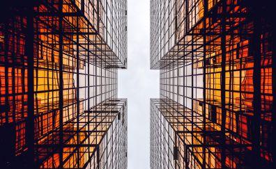 Glass building, sky, 4k